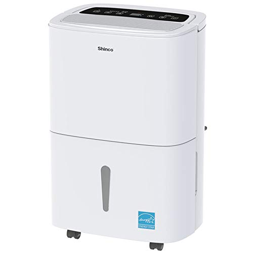 Shinco 1,500 Sq.Ft Energy Star Dehumidifier, Ideal for Medium Living Room, Basements, Bedrooms, Bathrooms, Auto or Manual Continuous Drain, Quietly Remove Moisture & Control Humidity