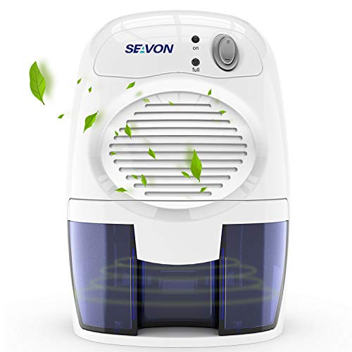 SEAVON New Electric 2019 Mini Dehumidifier, 1500 Cubic Feet (170 sq ft) Portable and Compact 500ml (16 oz) Capacity Quiet Mini Dehumidifiers for Basement, Bedroom, Bathroom, RV, Closet, Auto Shut Off