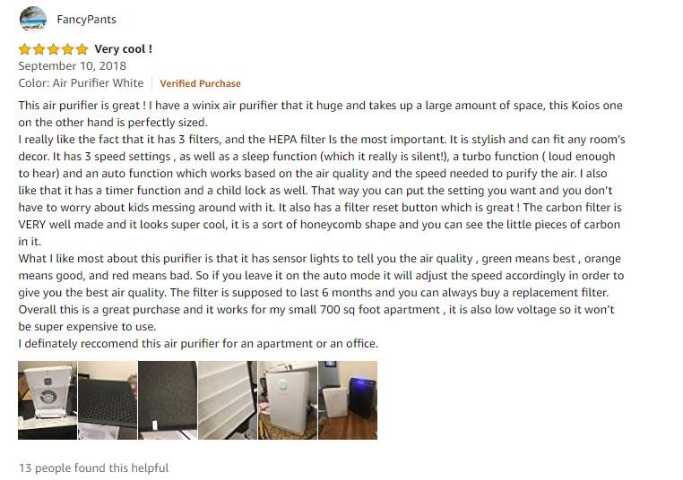 KOIOS Large Air Purifier True HEPA Filter Review 3