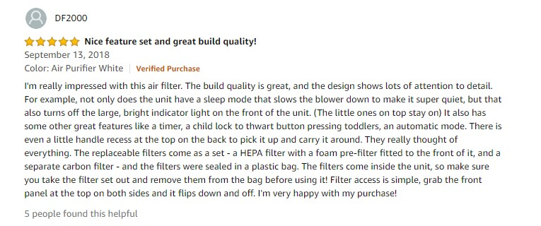 KOIOS Large Air Purifier True HEPA Filter Review 2
