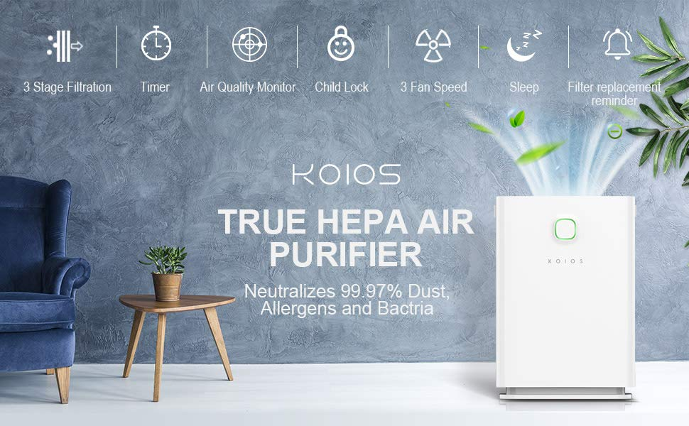KOIOS Large Air Purifier True HEPA Filter Review 1